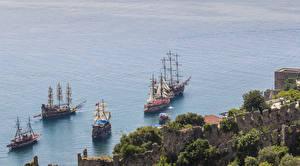 Фотография Турция Берег Море Корабли Парусные Природа