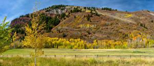 Фото Штаты Осенние Луга Холмы Деревья Ограда Aspen Colorado