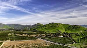 Фотография Штаты Поля Небо Калифорния Холмы Природа