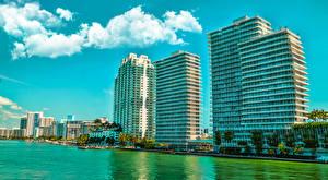Картинки США Дома Майами Флорида Улице Залива