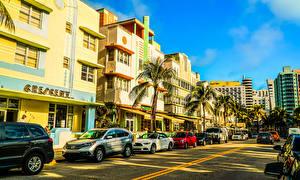Обои США Дома Дороги Майами Флорида Пальма Улице