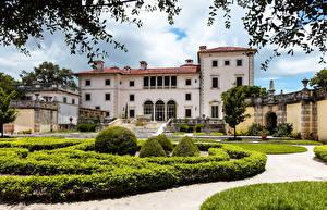Картинка США Ландшафтный дизайн Майами Флорида Дворец Кусты Vizcaya palace