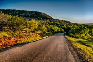 Картинки Штаты Дороги Техас Холмы Кусты Llano Природа