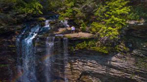 Обои США Водопады Скала Piney Falls Tennessee Природа картинки
