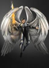 Обои Ангелы Мужчины Огонь Крылья Мечи Фантастика