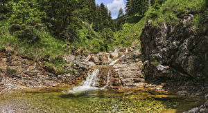 Картинки Австрия Леса Водопады Камень Reutte Tyrol Природа