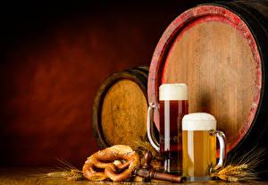 Фото Бочка Пиво Кружка Пена Колос Продукты питания