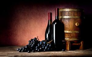 Обои Бочка Вино Виноград Бутылка Еда