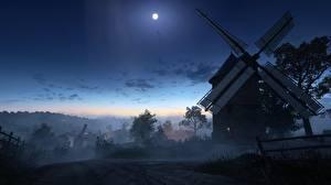 Картинка Battlefield 1 Ночные Мельница Луна Деревня 3D_Графика
