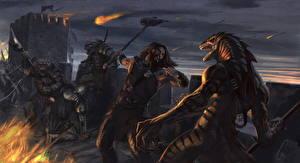 Картинки Сражения Чудовище Воины Иллюстрации к книгам The Envoy Фантастика