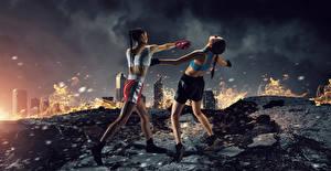 Фото Бокс Двое Тренировка Униформе Удар спортивная Девушки