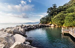 Фотография Бразилия Берег Камень Небо Рио-де-Жанейро Природа