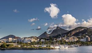 Фотография Бразилия Дома Гора Причалы Корабли Рио-де-Жанейро Облака город