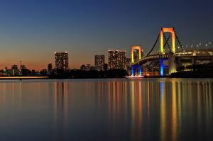 Фотография Мосты Токио Япония Ночь Залив Rainbow Bridge Города