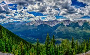 Картинки Канада Парки Горы Лес Пейзаж Банф Облака HDRI Природа