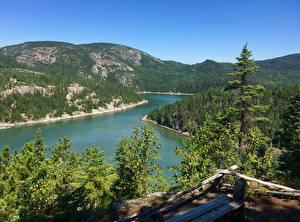 Фотографии Канада Пейзаж Речка Леса Холмы Ель Quebec