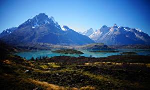 Картинка Чили Горы Озеро Pehoe Lake Patagonia Природа