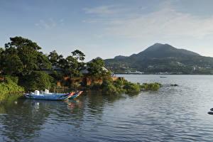 Обои Китай Побережье Реки Лодки Природа
