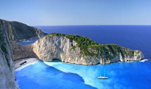 Фото Побережье Греция Море Бухта Утес Zakynthos, Navagio Природа