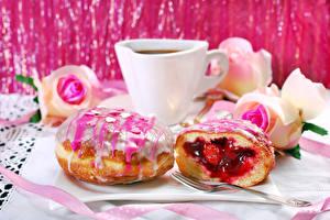 Картинка Кофе Пончики Сахарная глазурь Чашке Еда