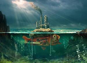 Обои Оригинальные Подводный мир Рыбы Фантастический мир Pond Life Фантастика