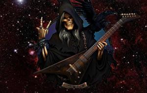 Обои Смерть Ворона Звезды Гитара Капюшон