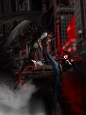 Фотографии Демоны Драка Рыжая Фантастика Девушки