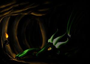 Картинки Драконы Пещера Факел Фантастика