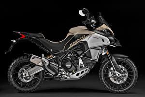 Картинка Ducati На черном фоне Сбоку 2017 Multistrada 1200 Enduro Pro Мотоциклы