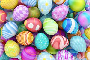Обои Пасха Яйца Разноцветные 3D Графика