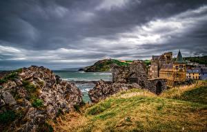 Фото Англия Здания Берег Небо Aberystwyth Города