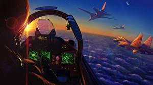 Обои Истребители Рисованные Кабина летчика Российские Армия