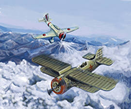 Фотография Самолеты Истребители Рисованные Японские Русские Двое I-153 Chaika, Nakajima Ki-27, Halkin-Gol, 1939 Армия
