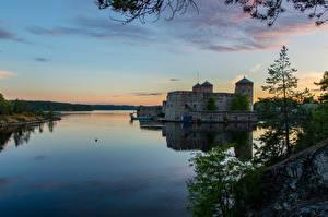 Фотографии Финляндия Замки Вечер Речка Olavinlinna Castle Savonlin