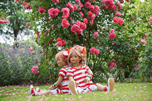 Фото Германия Парки Розы Кукла Вдвоем Девочки Кусты Сидящие Grugapark Essen Природа