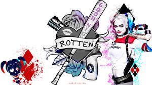 Фотография Харли Квинн герой Марго Робби Отряд самоубийц 2016 Блондинка Бейсбольная бита Белый фон Кино Девушки
