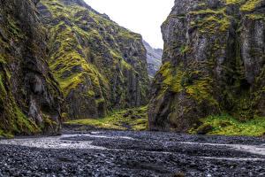 Фотографии Исландия Парк Скалы Мох Thorsmork National Park Природа