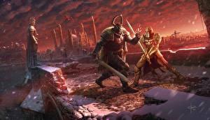 Фото Иллюстрации к книгам Воины Мосты Двое Броне Мечи Драка Anheron, Jorge Diez Miguélez Фэнтези