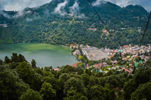 Картинка Индия Дома Озеро Леса Nainital Uttarakhand Города