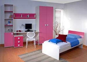 Картинка Интерьер Детская комната Дизайн Кровать Природа 3D_Графика