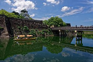 Картинки Япония Замки Реки Мосты Лодки Osaka Castle