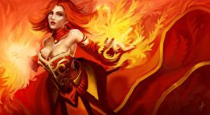 Картинки Лина DOTA 2 Пламя Волшебство Рыжая Игры Девушки Фэнтези