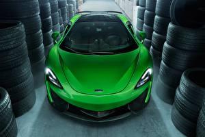 Фотографии Макларен Салатовый Спереди Автомобильная шина 2017 Novitec 570GT Машины