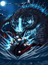 Фото Чудовище Сражения Ночные Godzilla