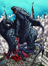 Фото Чудовище Кровь Godzilla Фэнтези
