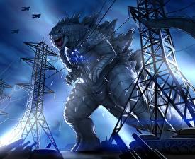 Фотография Монстры Линия электропередачи Godzilla Фантастика