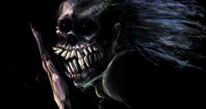 Обои Монстры Зубы Черный фон Фэнтези