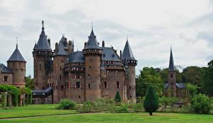 Фотографии Нидерланды Замки Ландшафтный дизайн Газон De Haar Castle