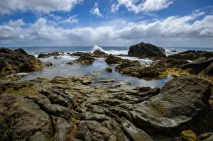 Фото Нидерланды Побережье Небо Камень Облака Azores Природа
