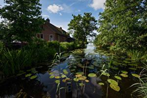 Обои Нидерланды Здания Водный канал Листва Кусты De Haeck Природа